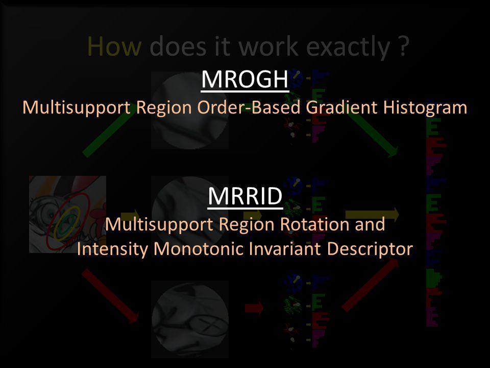 How does it work exactly ? MRRID Multisupport Region Rotation and Intensity Monotonic Invariant Descriptor MROGH Multisupport Region Order-Based Gradi