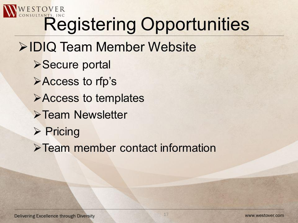 Registering Opportunities IDIQ Team Member Website Secure portal Access to rfps Access to templates Team Newsletter Pricing Team member contact information 17