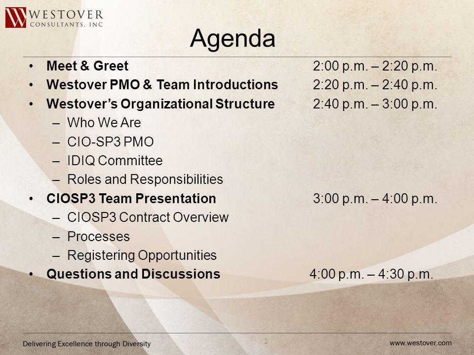 Agenda Meet & Greet 2:00 p.m. – 2:20 p.m. Westover PMO & Team Introductions2:20 p.m. – 2:40 p.m. Westovers Organizational Structure2:40 p.m. – 3:00 p.
