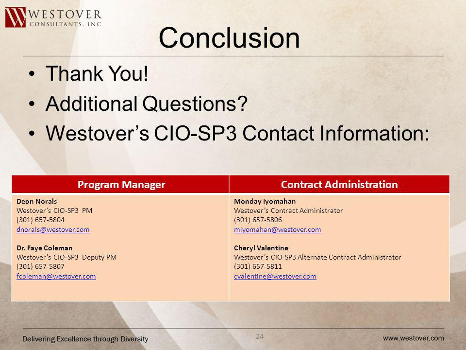 Conclusion Thank You! Additional Questions? Westovers CIO-SP3 Contact Information: 24 Program ManagerContract Administration Deon Norals Westovers CIO
