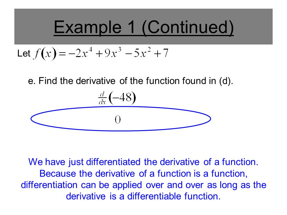 Example 1 (Continued) Let e. Find the derivative of the function found in (d). We have just differentiated the derivative of a function. Because the d