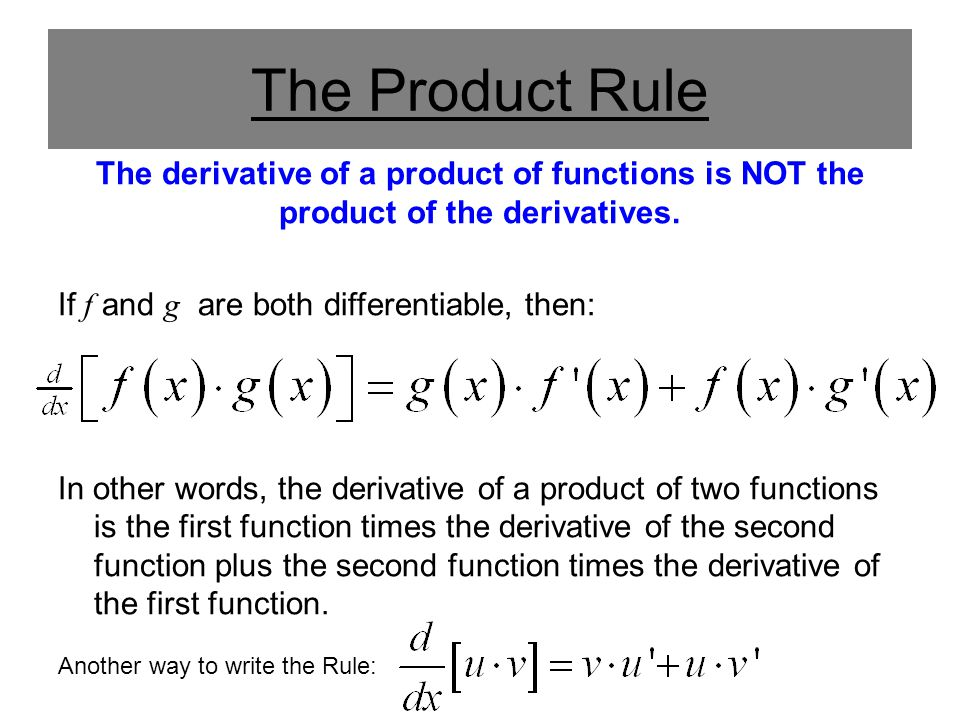 The Product Rule The derivative of a product of functions is NOT the product of the derivatives. If f and g are both differentiable, then: In other wo