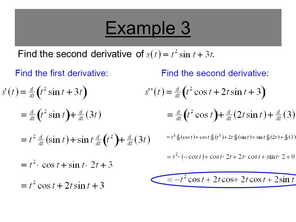 Example 3 Find the second derivative of. Find the first derivative:Find the second derivative: