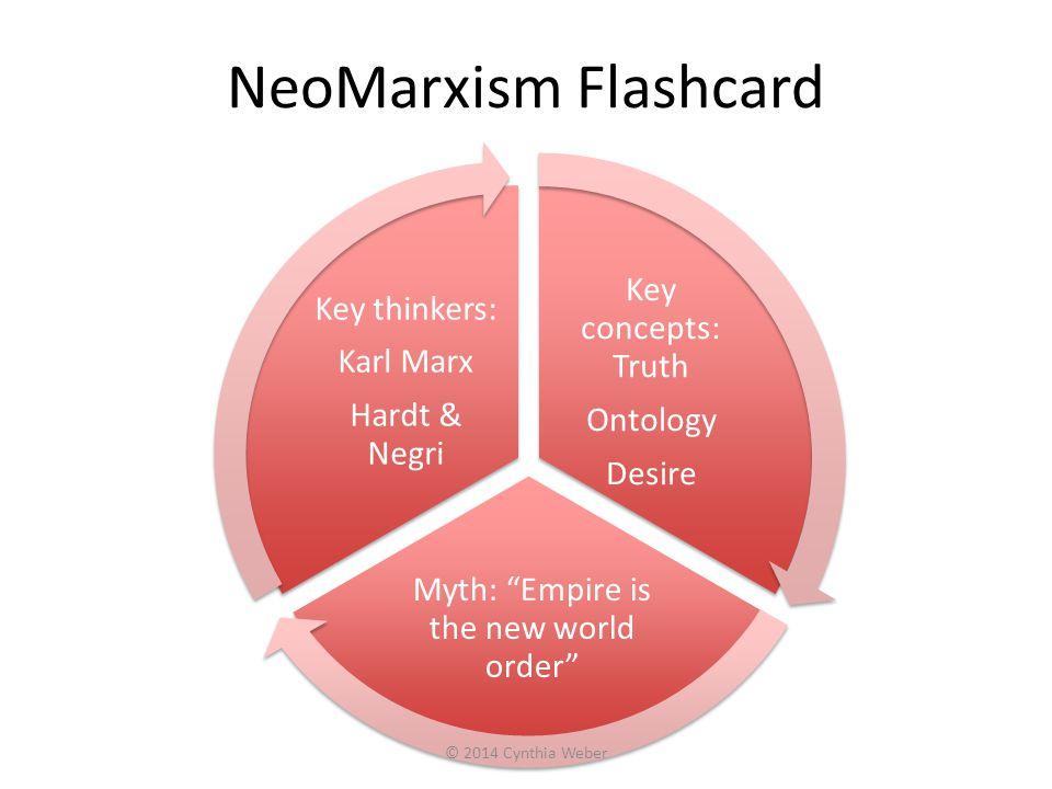 NeoMarxism Flashcard Key concepts: Truth Ontology Desire Myth: Empire is the new world order Key thinkers: Karl Marx Hardt & Negri © 2014 Cynthia Weber