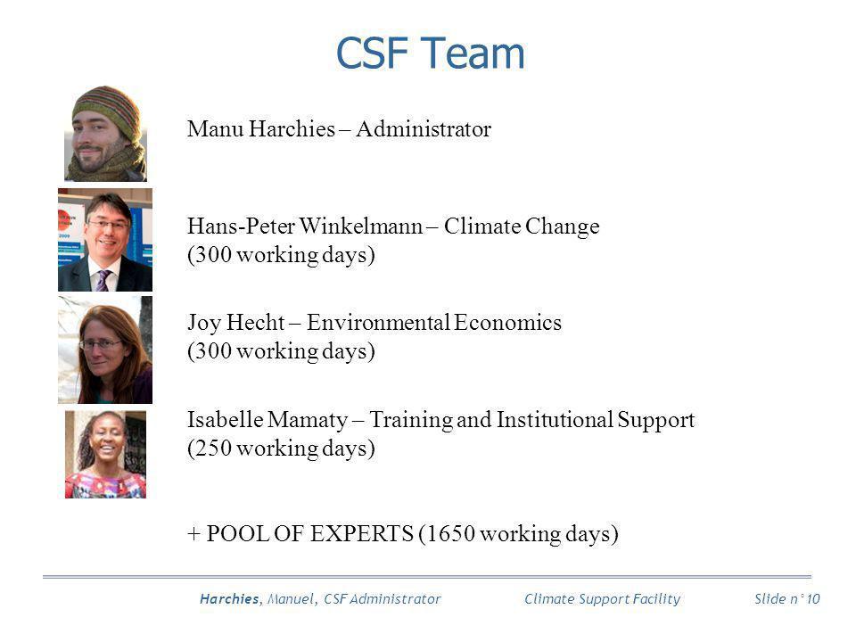 Harchies, Manuel, CSF Administrator Slide n°10 Climate Support Facility Manu Harchies – Administrator Hans-Peter Winkelmann – Climate Change (300 work