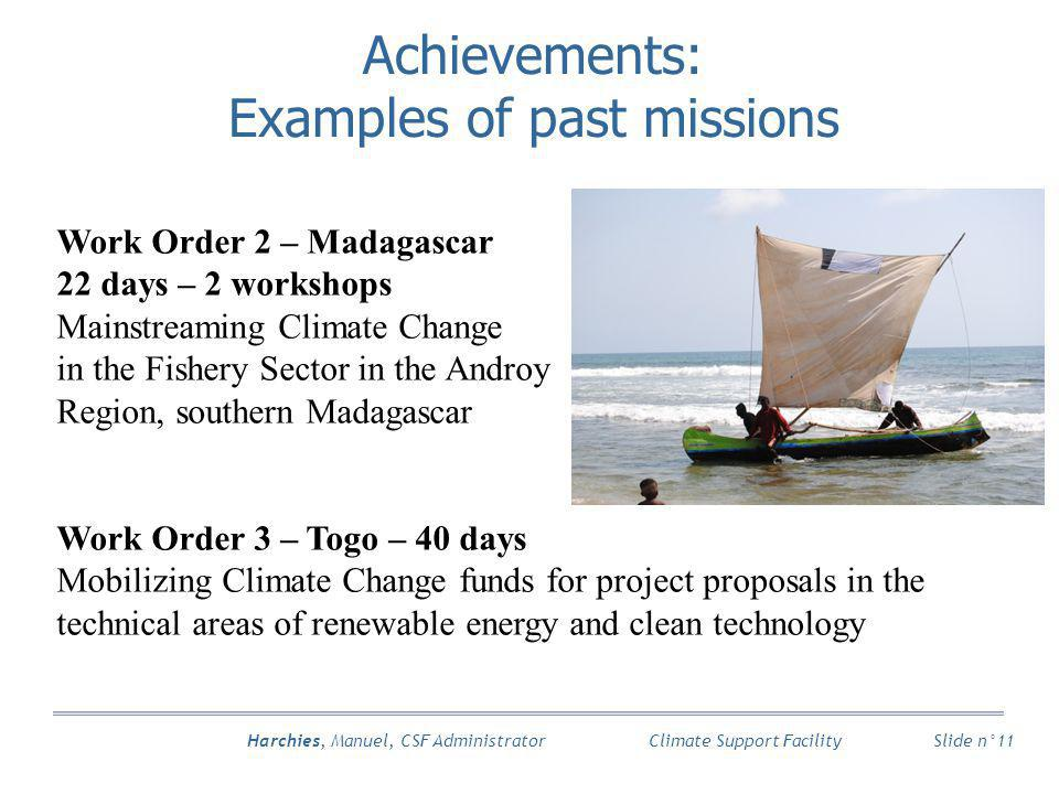 Harchies, Manuel, CSF Administrator Slide n°11 Climate Support Facility Achievements: Examples of past missions Work Order 2 – Madagascar 22 days – 2