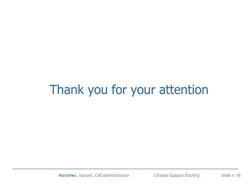 Harchies, Manuel, CSF Administrator Slide n°18 Climate Support Facility Thank you for your attention