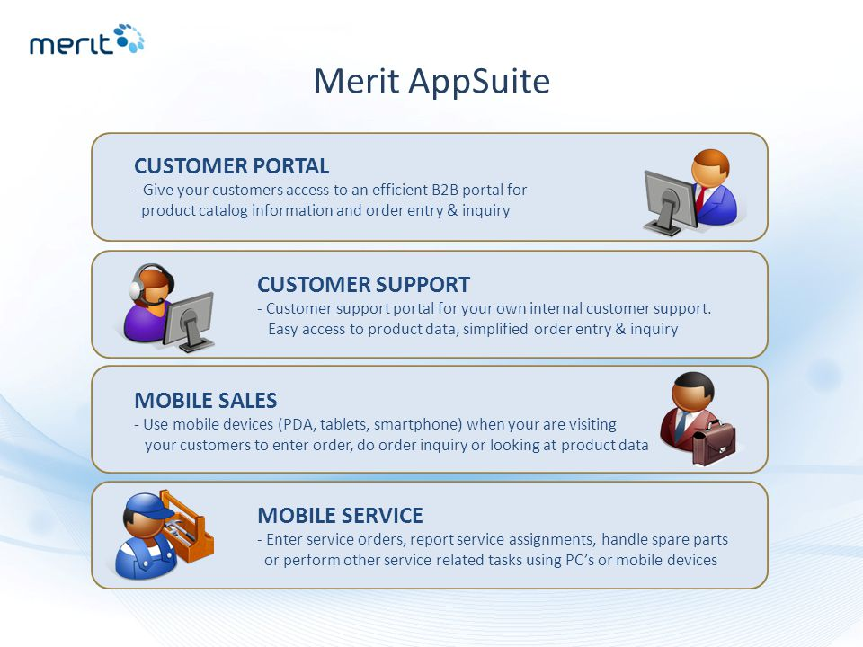 Merit AppSuite CUSTOMER PORTAL - Give your customers access to an efficient B2B portal for product catalog information and order entry & inquiry CUSTO