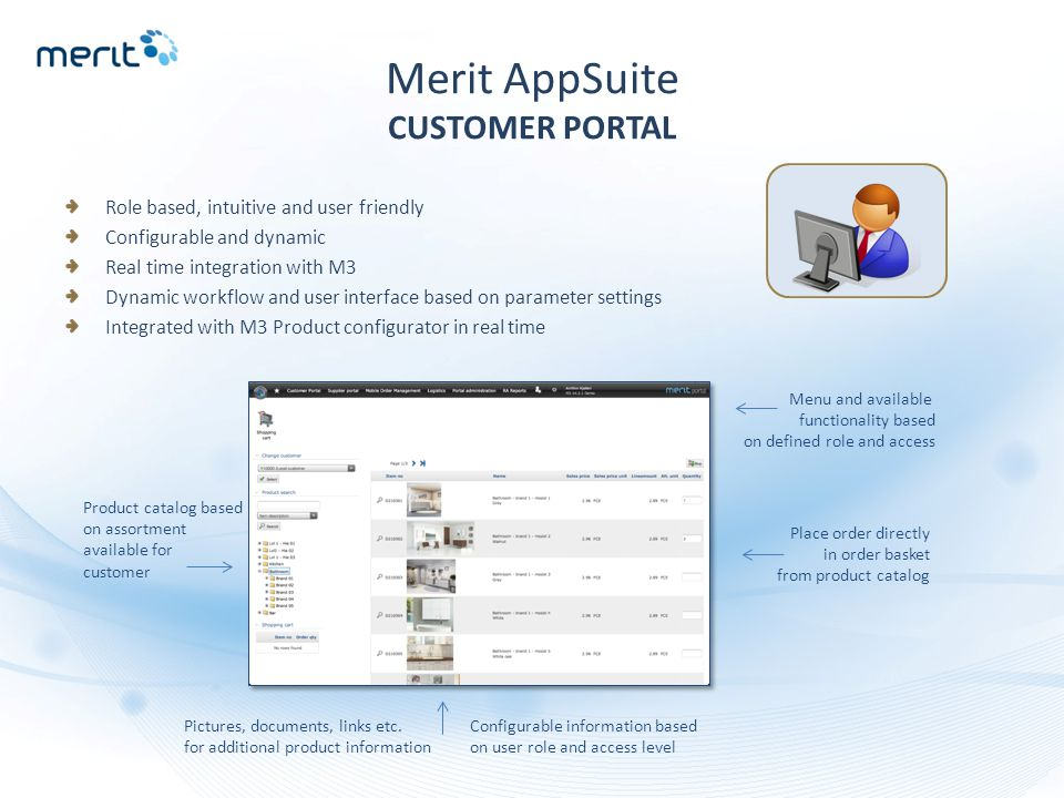 Merit AppSuite CUSTOMER PORTAL Role based, intuitive and user friendly Configurable and dynamic Real time integration with M3 Dynamic workflow and use