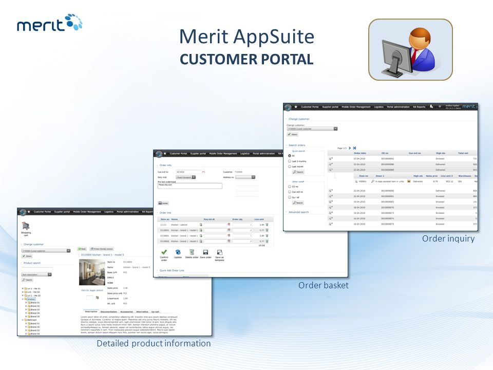 Merit AppSuite CUSTOMER PORTAL Detailed product information Order basket Order inquiry