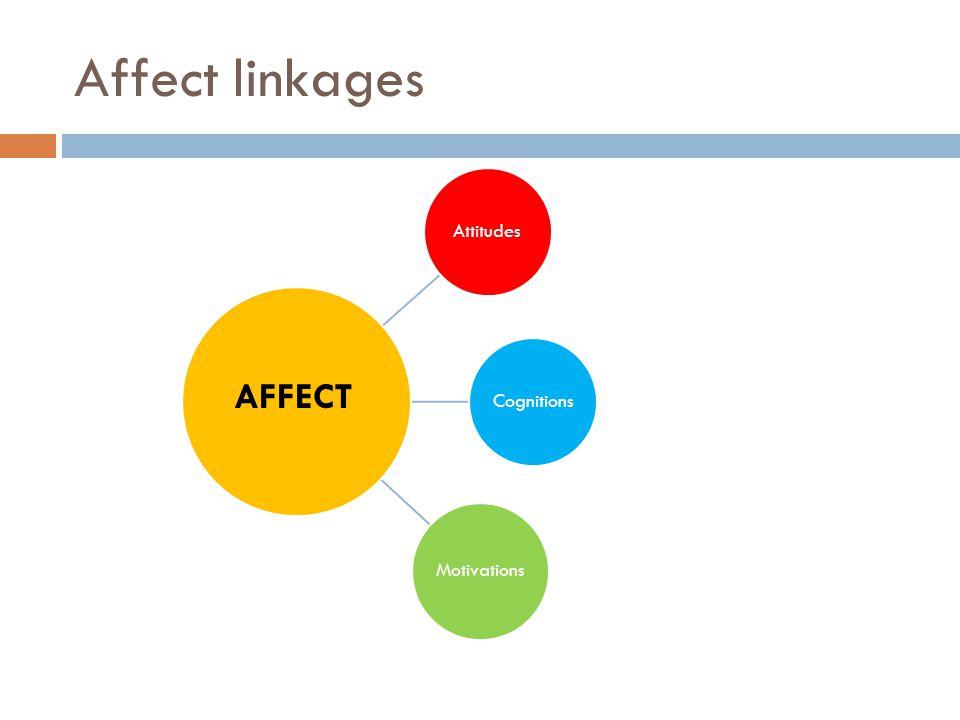 Affect linkages AttitudesCognitions Motivations AFFECT