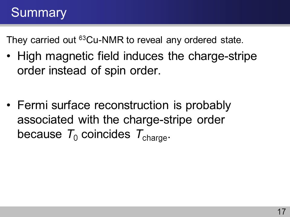 Summary They carried out 63 Cu-NMR to reveal any ordered state. High magnetic field induces the charge-stripe order instead of spin order. Fermi surfa