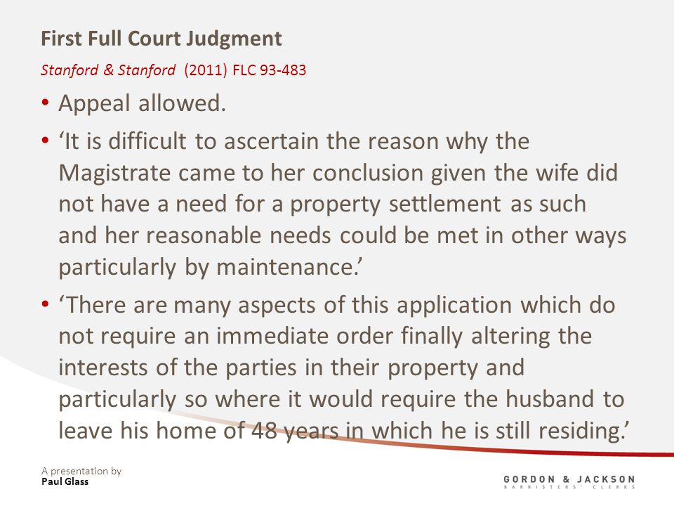 A presentation by First Full Court Judgment Appeal allowed. It is difficult to ascertain the reason why the Magistrate came to her conclusion given th