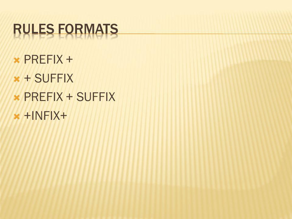 PREFIX + + SUFFIX PREFIX + SUFFIX +INFIX+