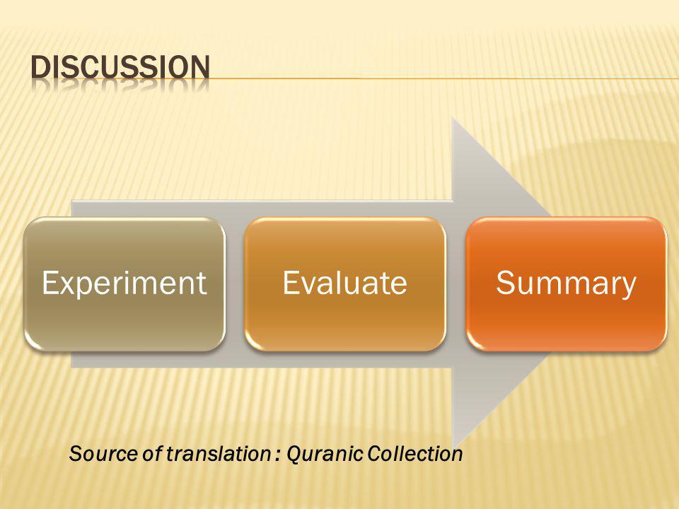 ExperimentEvaluateSummary Source of translation : Quranic Collection