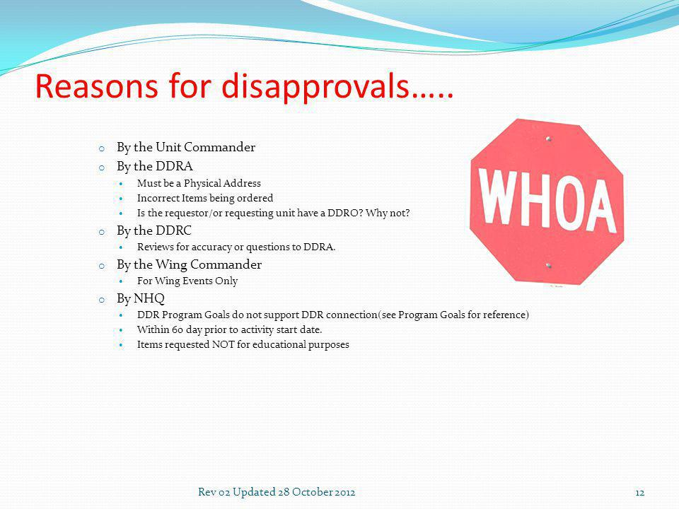 Reasons for disapprovals…..