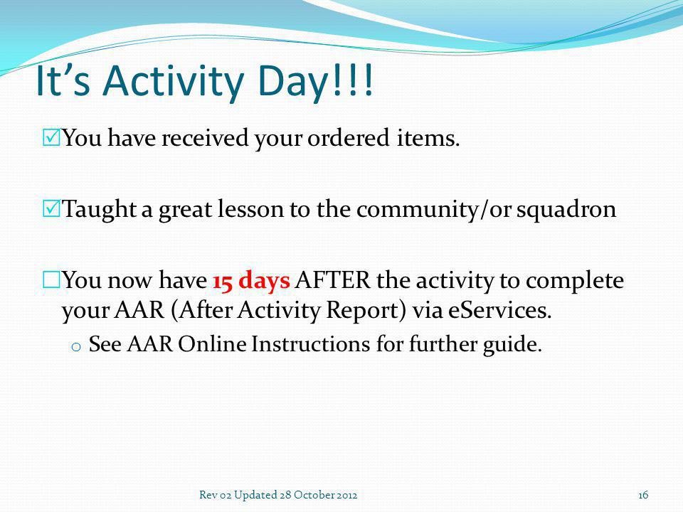 Its Activity Day!!. You have received your ordered items.