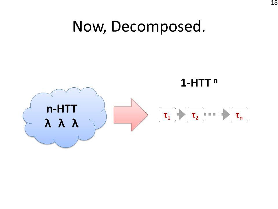 18 Now, Decomposed. n-HTT λ λ λ n-HTT λ λ λ 1-HTT n τ1τ1 τ2τ2 τnτn