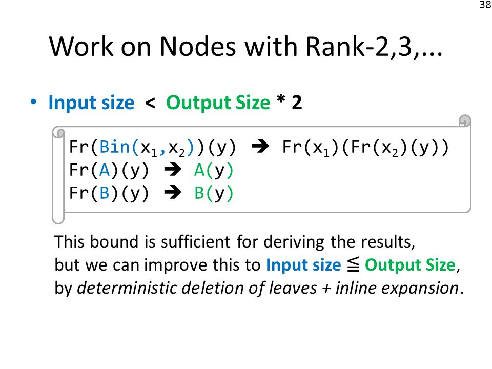 38 Input size < Output Size * 2 This bound is sufficient for deriving the results, but we can improve this to Input size Output Size, by deterministic deletion of leaves + inline expansion.