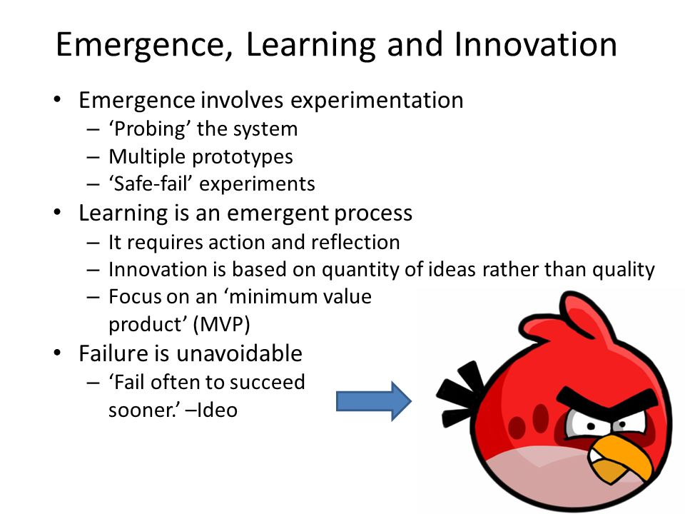 Emergence, Learning and Innovation Emergence involves experimentation – Probing the system – Multiple prototypes – Safe-fail experiments Learning is an emergent process – It requires action and reflection – Innovation is based on quantity of ideas rather than quality – Focus on an minimum value product (MVP) Failure is unavoidable – Fail often to succeed sooner.