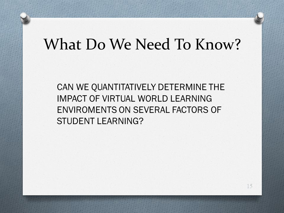 What Do We Need To Know? CAN WE QUANTITATIVELY DETERMINE THE IMPACT OF VIRTUAL WORLD LEARNING ENVIROMENTS ON SEVERAL FACTORS OF STUDENT LEARNING? 15