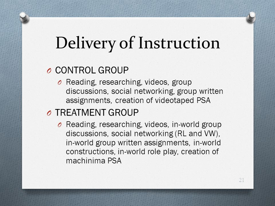 Delivery of Instruction O CONTROL GROUP O Reading, researching, videos, group discussions, social networking, group written assignments, creation of v