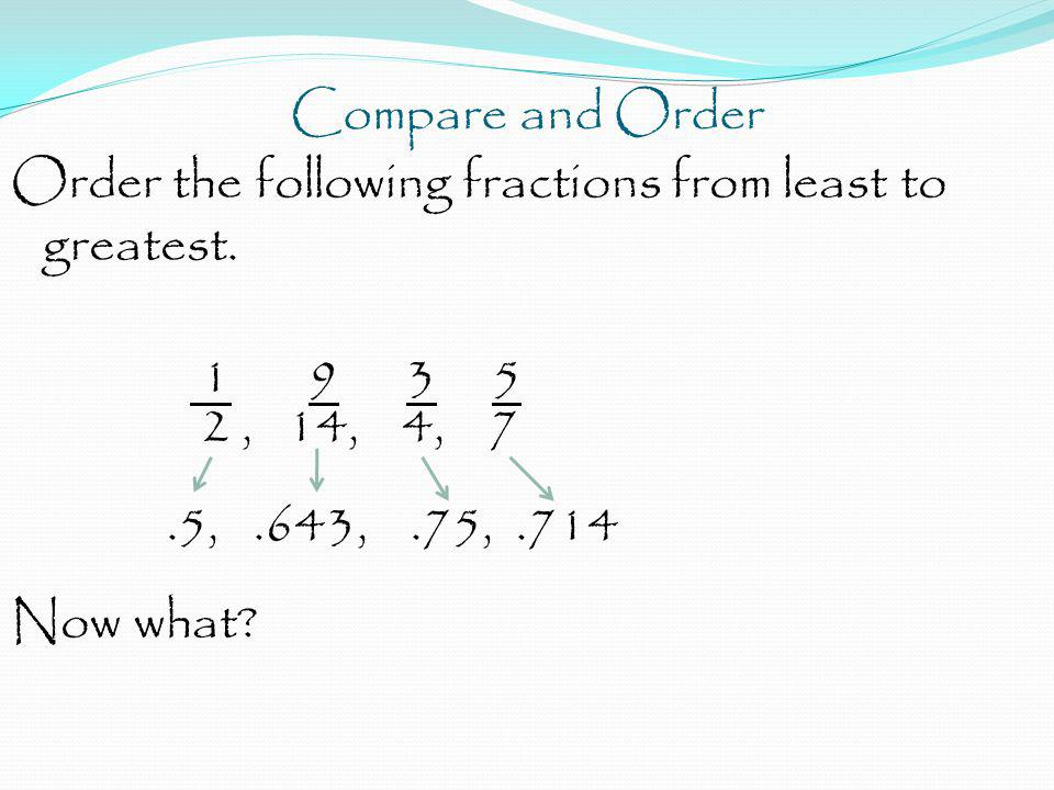 Compare and Order Order the following fractions from least to greatest.