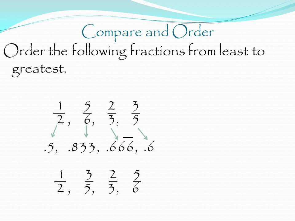 Compare and Order Order the following fractions from least to greatest. 1 5 2 3 2, 6, 3, 5.5,.833,.666,.6 1 3 2 5 2, 5, 3, 6