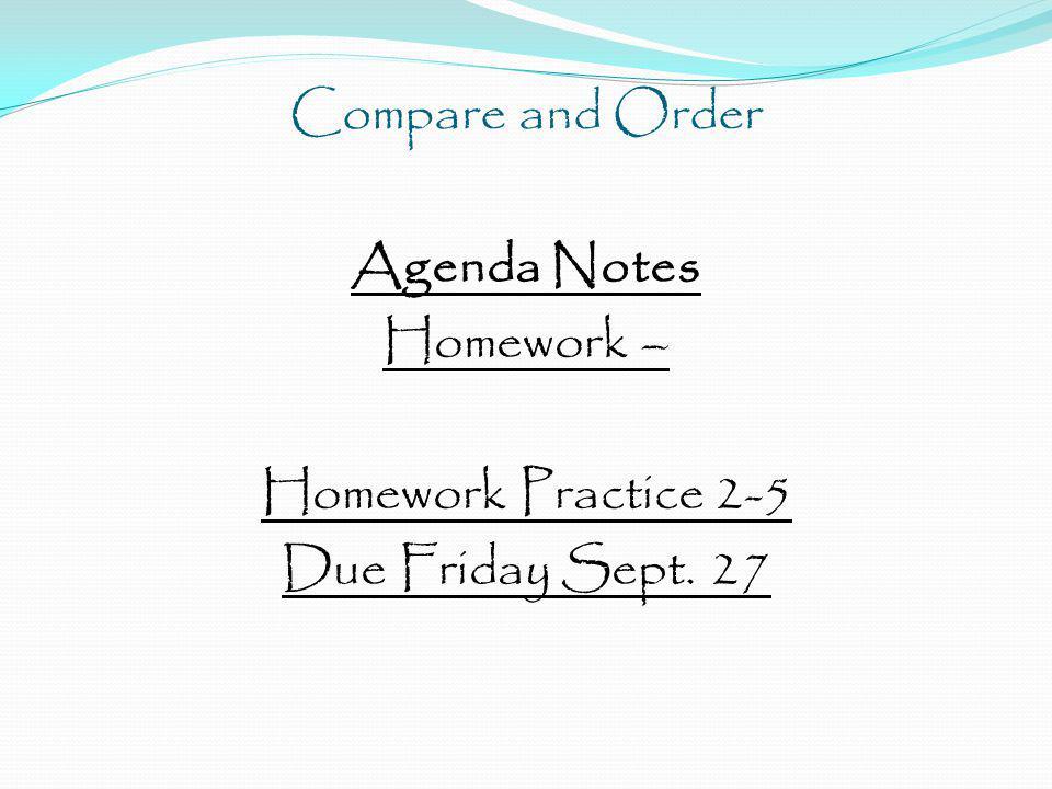 Compare and Order Agenda Notes Homework – Homework Practice 2-5 Due Friday Sept. 27