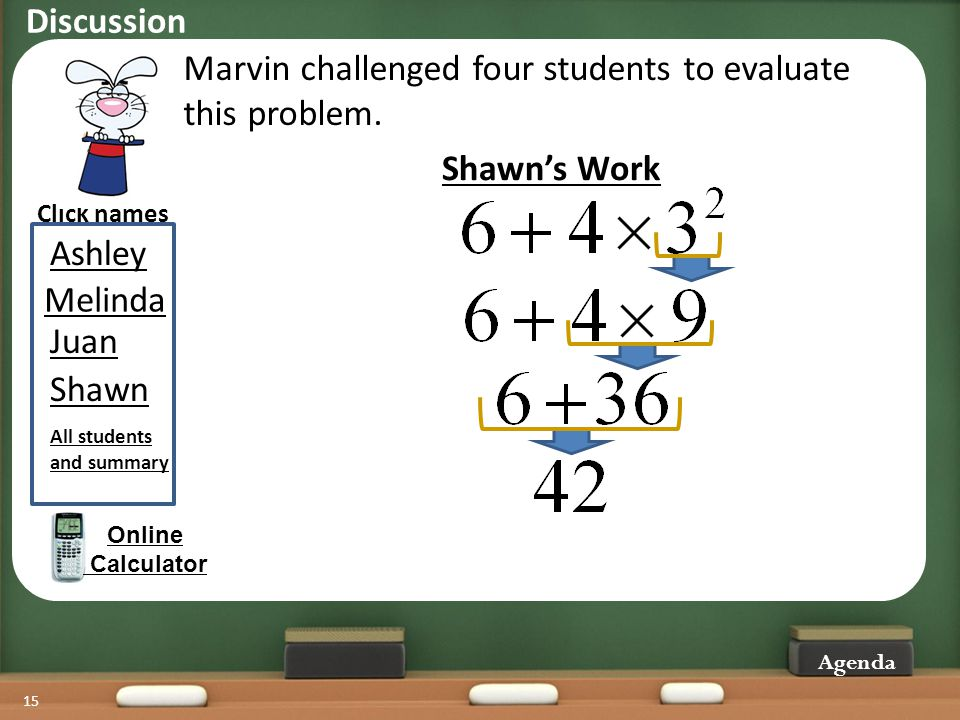 15 Marvin challenged four students to evaluate this problem. Click names Agenda Online Calculator Shawns Work Juan Melinda Shawn Ashley All students a
