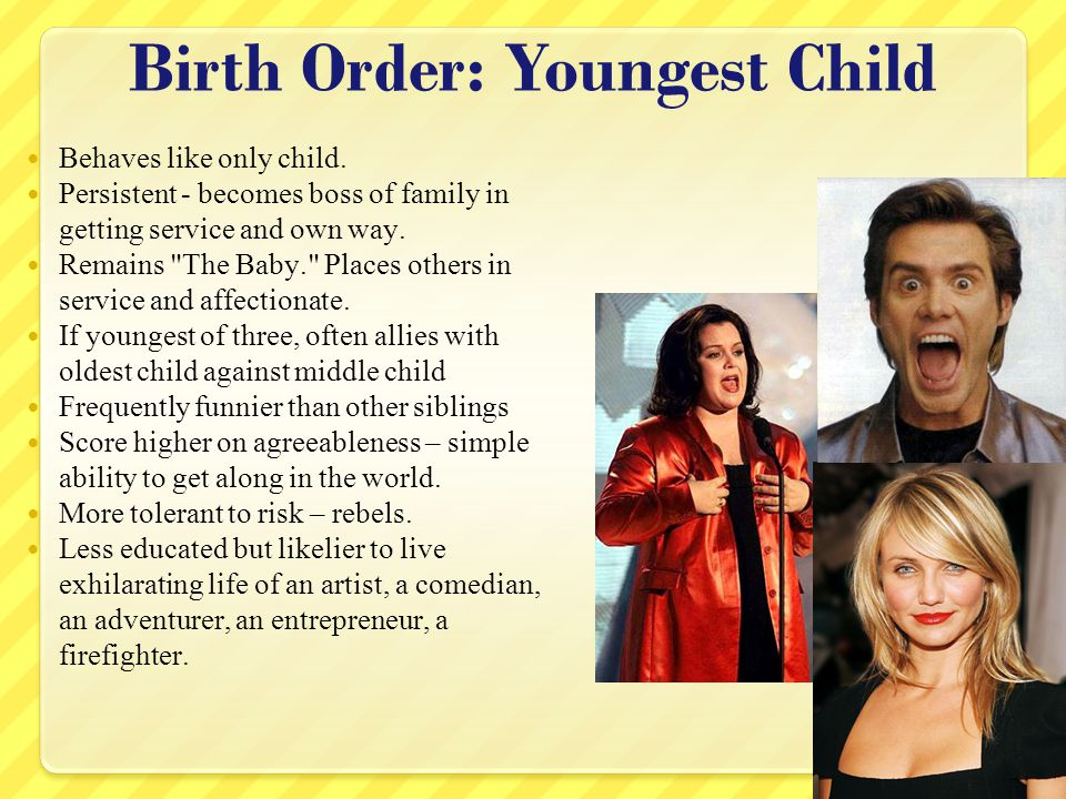 Birth Order: Youngest Child Behaves like only child.