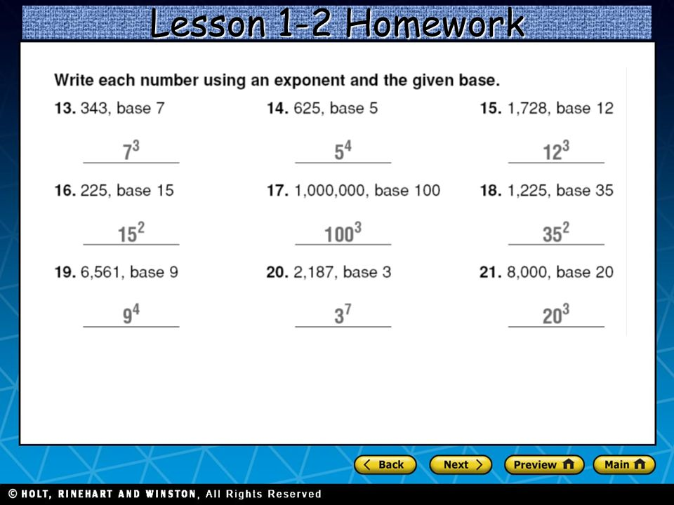 Holt CA Course 1 1-3Order of Operations Lesson 1-2 Homework