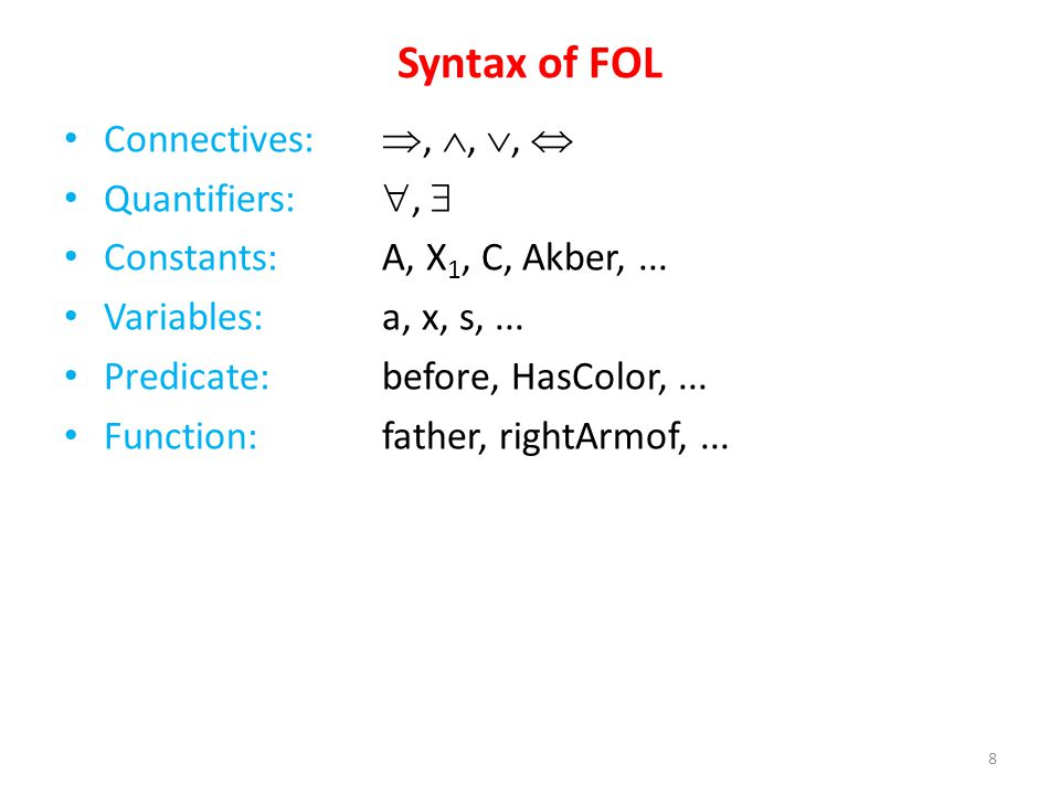 Syntax of FOL Connectives:,,, Quantifiers:, Constants: A, X 1, C, Akber,...
