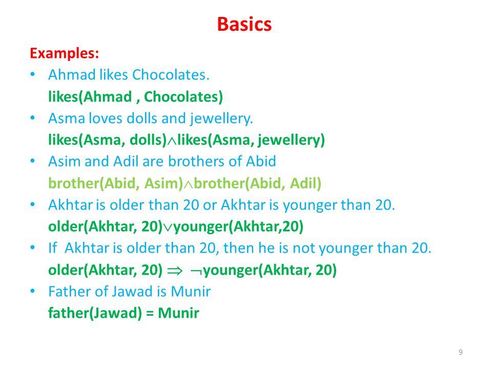 Basics Examples: Ahmad likes Chocolates. likes(Ahmad, Chocolates) Asma loves dolls and jewellery. likes(Asma, dolls) likes(Asma, jewellery) Asim and A