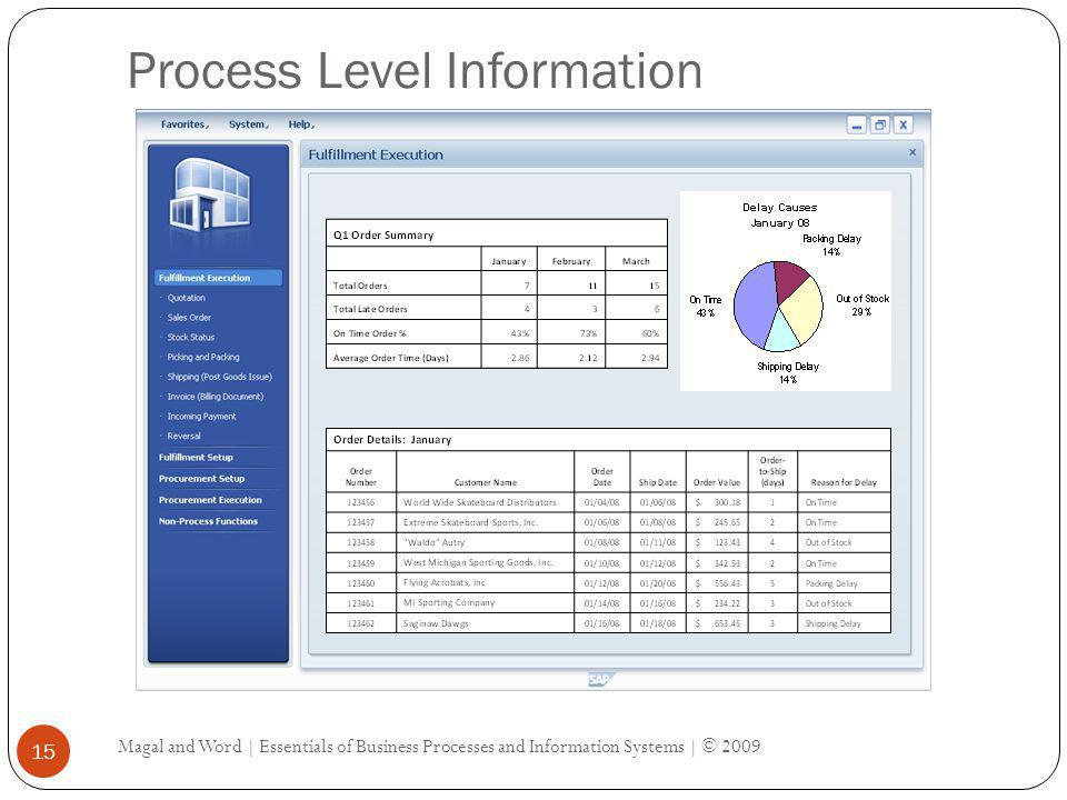 Process Level Information Magal and Word | Essentials of Business Processes and Information Systems | © 2009 15
