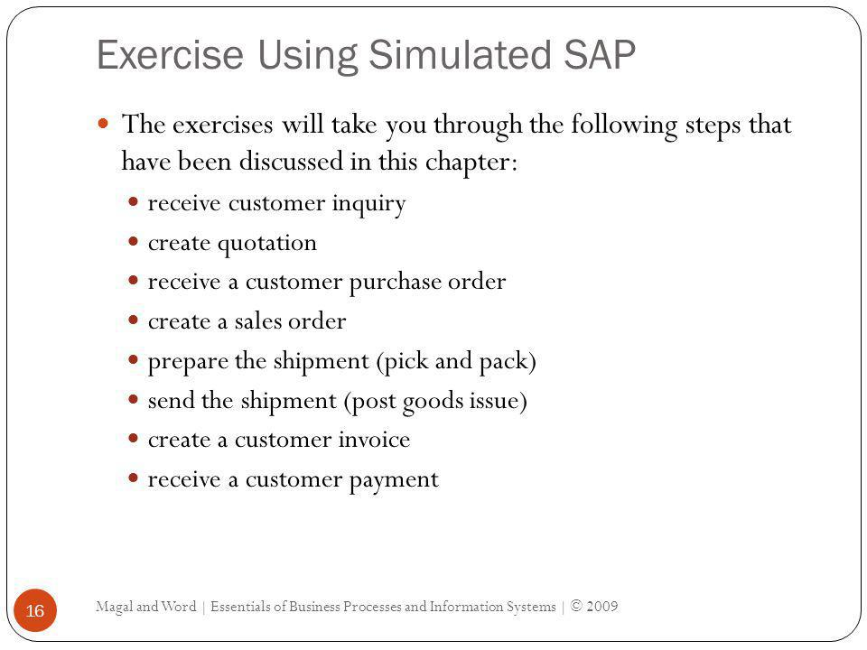 Exercise Using Simulated SAP Magal and Word | Essentials of Business Processes and Information Systems | © 2009 16 The exercises will take you through
