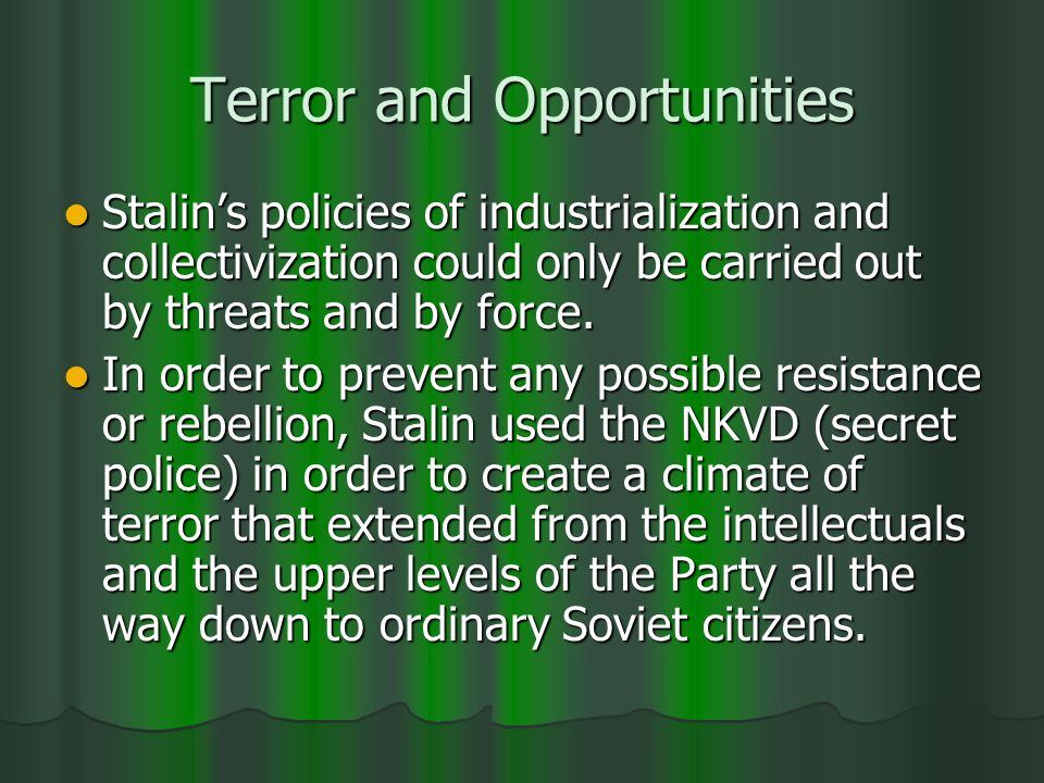 Terror and Opportunities Stalins policies of industrialization and collectivization could only be carried out by threats and by force.