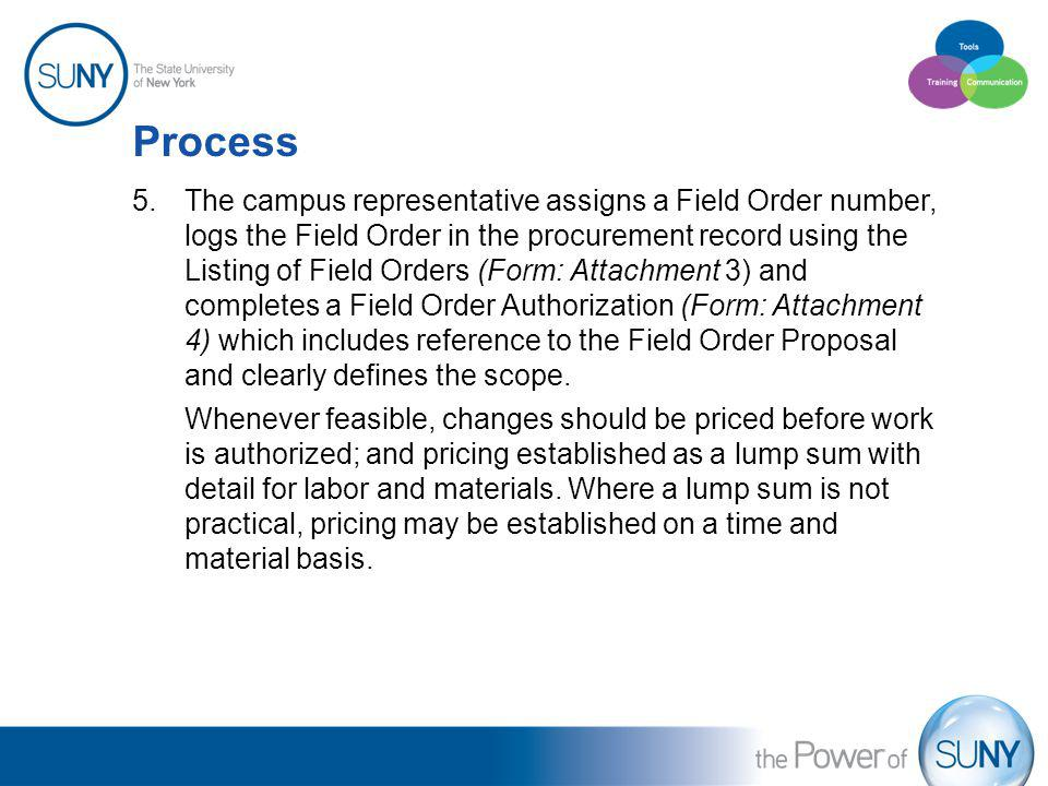 Process 5.The campus representative assigns a Field Order number, logs the Field Order in the procurement record using the Listing of Field Orders (Fo