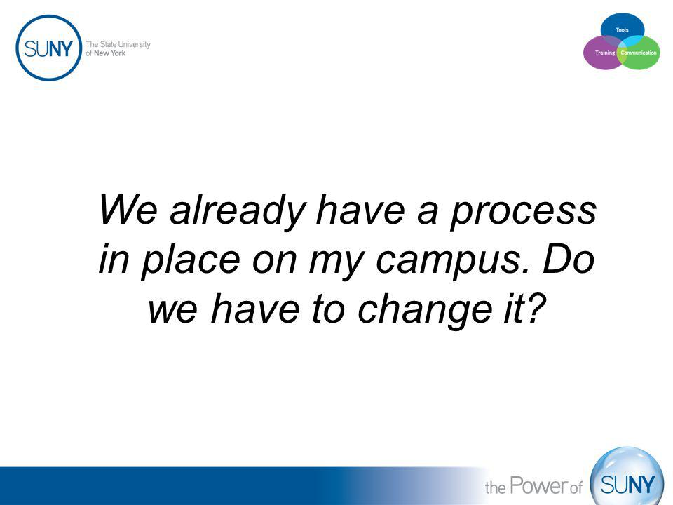 We already have a process in place on my campus. Do we have to change it?
