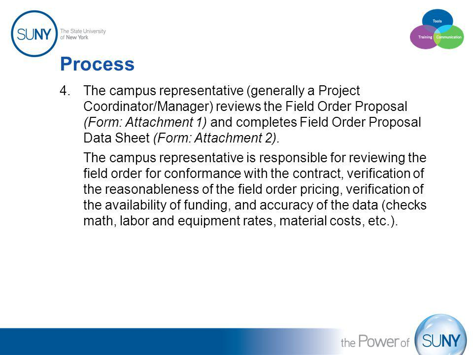 Process 4.The campus representative (generally a Project Coordinator/Manager) reviews the Field Order Proposal (Form: Attachment 1) and completes Fiel