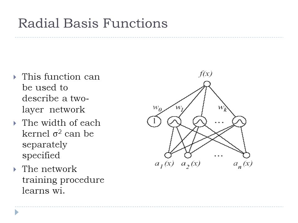 This function can be used to describe a two- layer network The width of each kernel σ 2 can be separately specified The network training procedure lea