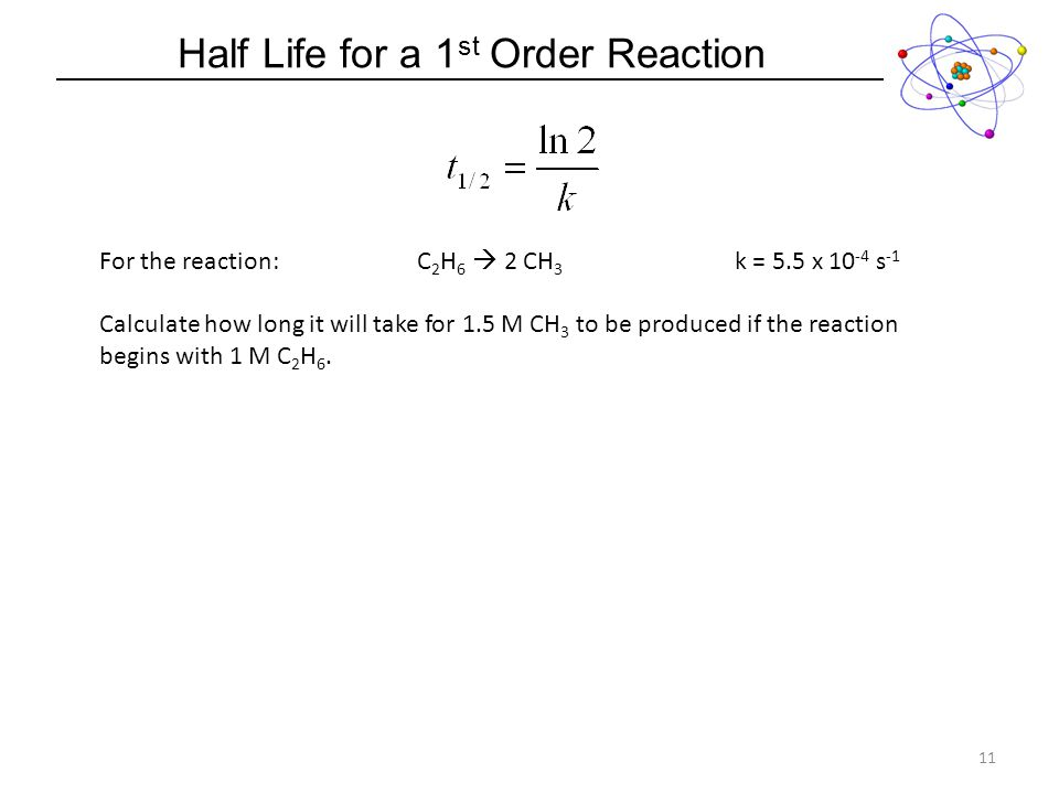 Half Life for a 1 st Order Reaction 11 For the reaction:C 2 H 6 2 CH 3 k = 5.5 x 10 -4 s -1 Calculate how long it will take for 1.5 M CH 3 to be produced if the reaction begins with 1 M C 2 H 6.