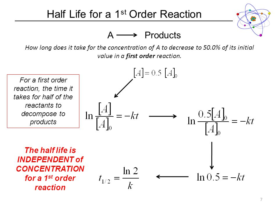 Half Life for a 1 st Order Reaction 7 How long does it take for the concentration of A to decrease to 50.0% of its initial value in a first order reaction.
