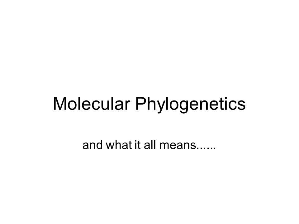 Molecular Phylogenetics and what it all means......