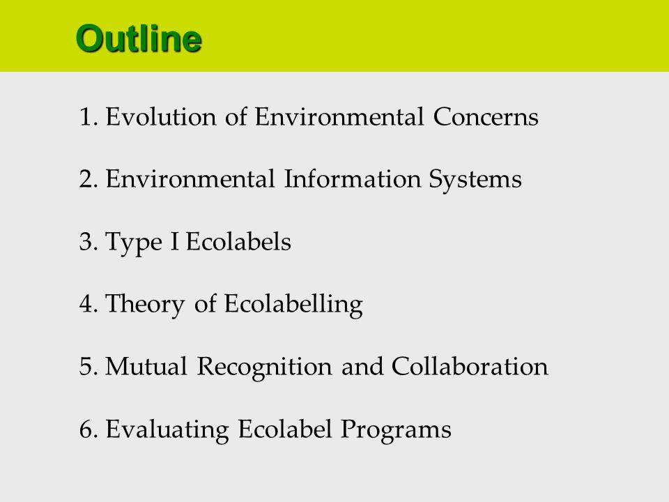 1. Evolution of Environmental Concerns 2. Environmental Information Systems 3.