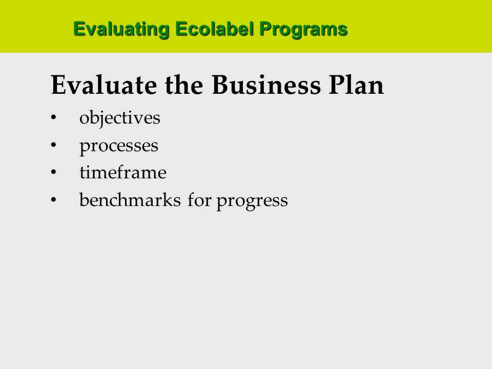 Evaluating Ecolabel Programs Evaluate the Business Plan objectives processes timeframe benchmarks for progress