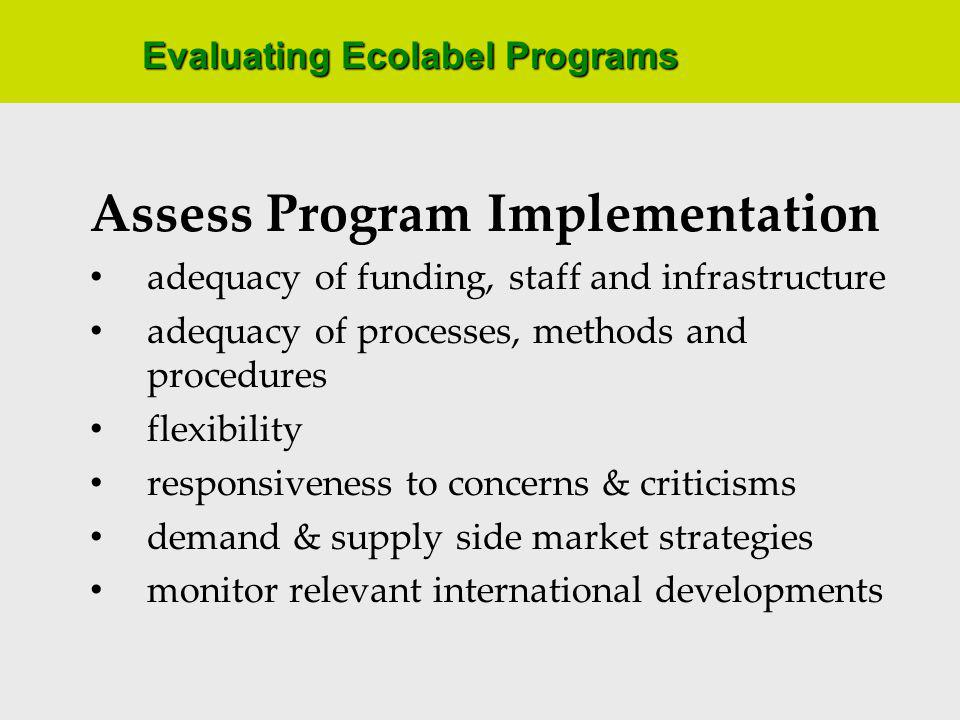 Evaluating Ecolabel Programs Assess Program Implementation adequacy of funding, staff and infrastructure adequacy of processes, methods and procedures flexibility responsiveness to concerns & criticisms demand & supply side market strategies monitor relevant international developments