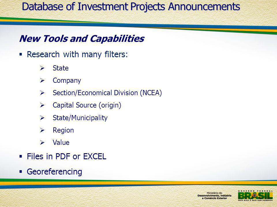 New Tools and Capabilities Research with many filters: State Company Section/Economical Division (NCEA) Capital Source (origin) State/Municipality Region Value Files in PDF or EXCEL Georeferencing Database of Investment Projects Announcements