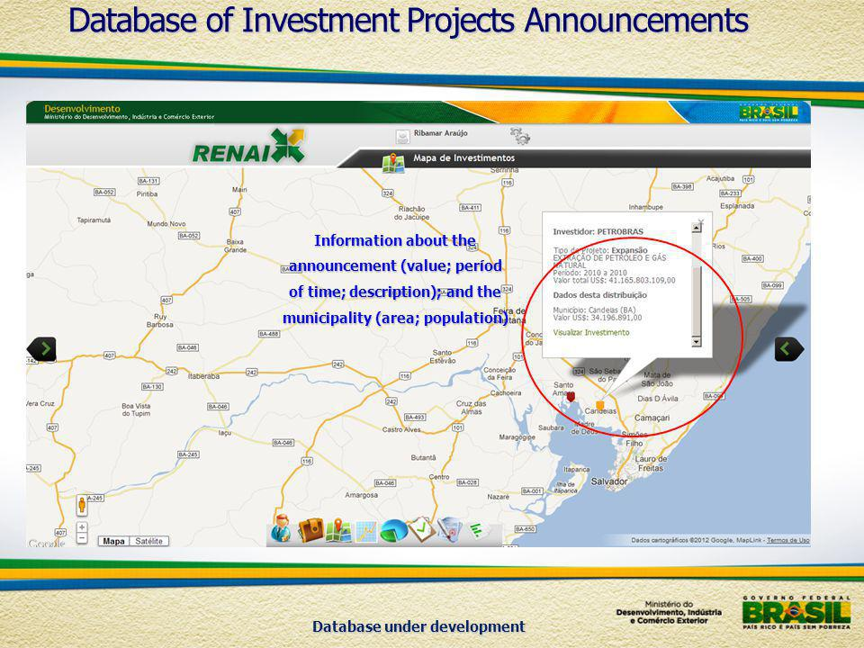 Database under development Information about the announcement (value; períod of time; description); and the municipality (area; population) Database of Investment Projects Announcements