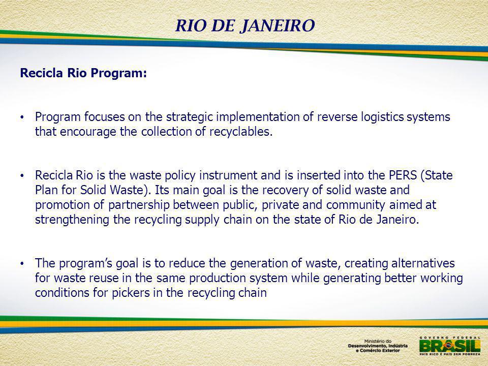 RIO DE JANEIRO Recicla Rio Program: Program focuses on the strategic implementation of reverse logistics systems that encourage the collection of recy